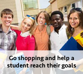 Search for a student to support and go shopping.
